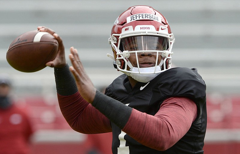 """KJ Jefferson entered and emerged from spring practice as Arkansas' top quarterback. """"Coming out of spring I feel like I grew and matured a whole lot from where I was when we first started spring,"""" he said. (NWA Democrat-Gazette/Andy Shupe)"""