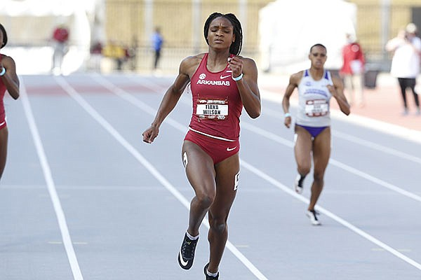 Arkansas' Tiana Wilson runs Saturday, April 24, 2021, in Fayetteville. (Photo by Robert Black, via University of Arkansas Athletics)