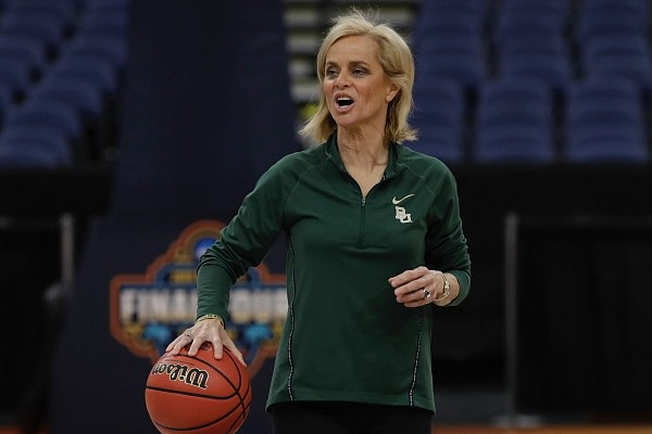 Baylor head coach Kim Mulkey during a practice session for the women's Final Four NCAA college basketball semifinal game against Oregon Thursday, April 4, 2019, in Tampa, Fla.