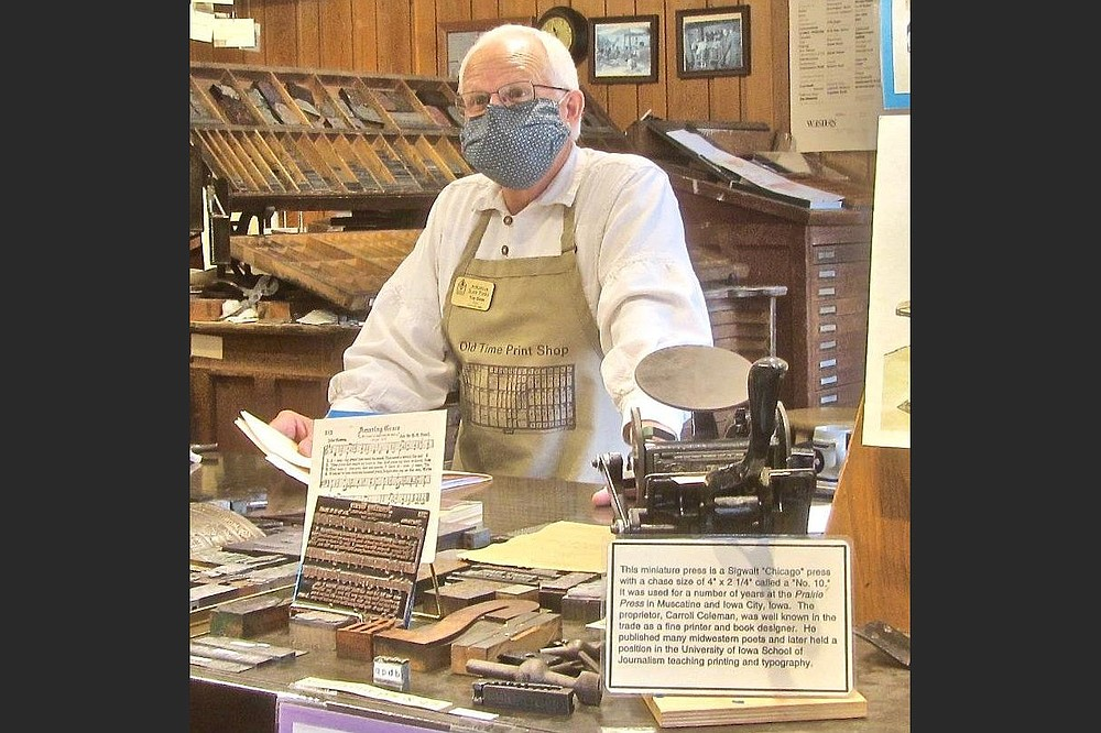 Troy Odom is proprietor of the Craft Village's Old Time Print Shop. (Special to the Democrat-Gazette/Marcia Schnedler)