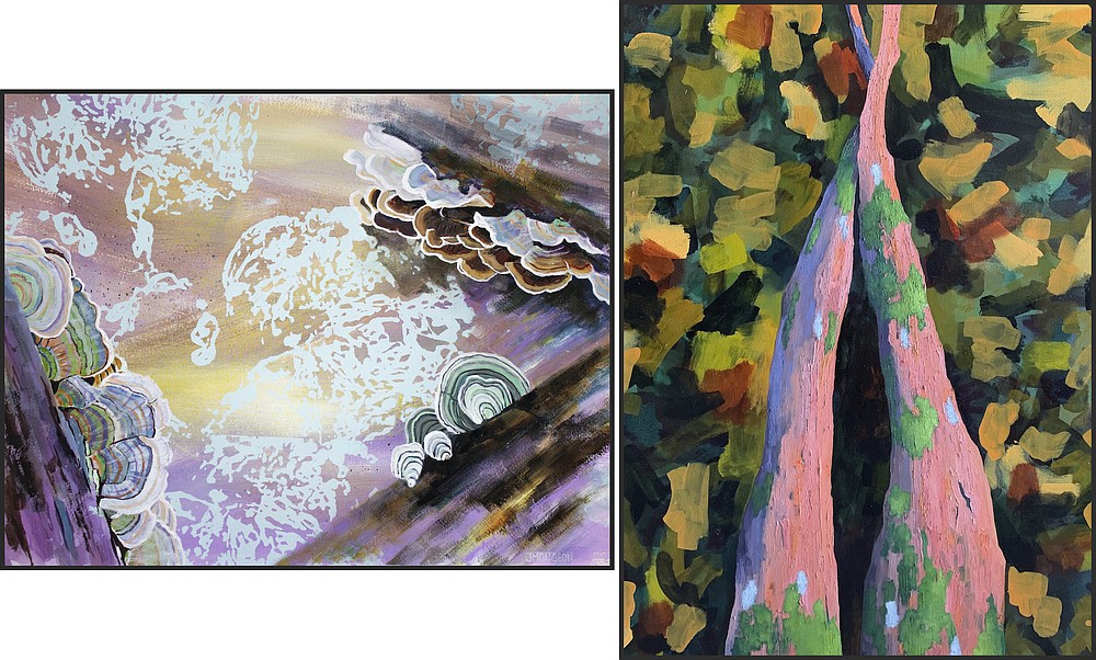 """""""Life Cycle"""" by Jessica Mongeon (left) and """"Fallen Limbs"""" by Steven Wise go on display Thursday at Bentonville gallery 211 South. (Special to the Democrat-Gazette)"""