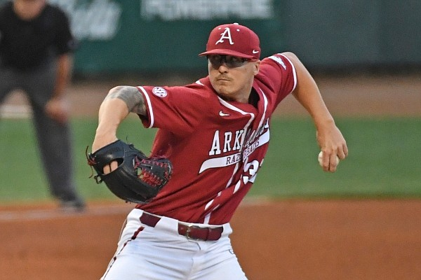 Arkansas pitcher Patrick Wicklander delivers a pitch during a game against LSU on April 30, 2021, in Baton Rouge, La.