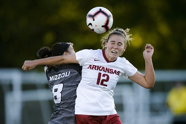 Arkansas midfielder Kayla McKeon (12) is one of several Razorbacks who have plenty of NCAA Tournament experience. She said that will be key as Arkansas opens play in the tournament against Utah Valley this afternoon in Greenville, N.C.