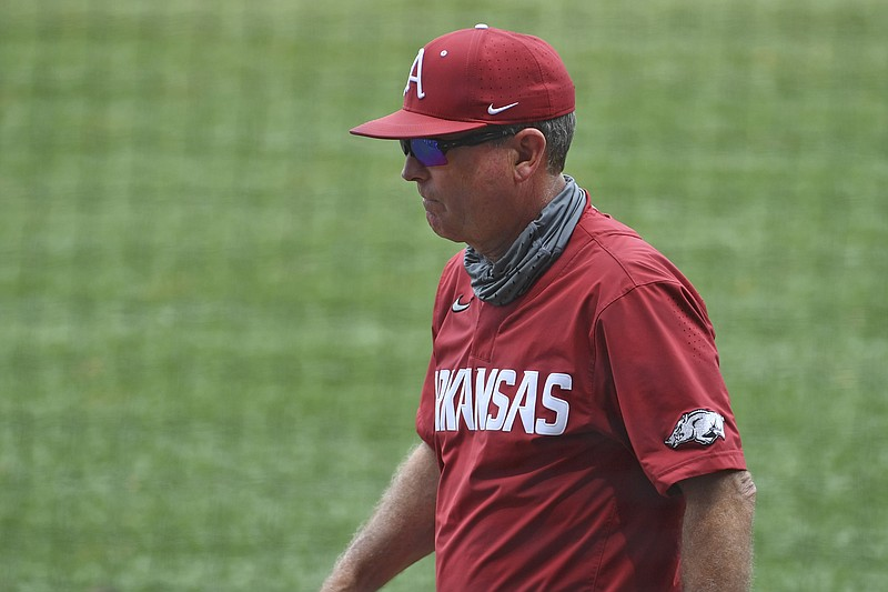 Dave Van Horn walks off the field during Arkansas' 17-10 win over LSU, Saturday, May 1, 2021, at Alex Box Stadium on the campus of LSU in Baton Rouge, La. (Photo by Hillary Scheinuk/The Advocate)