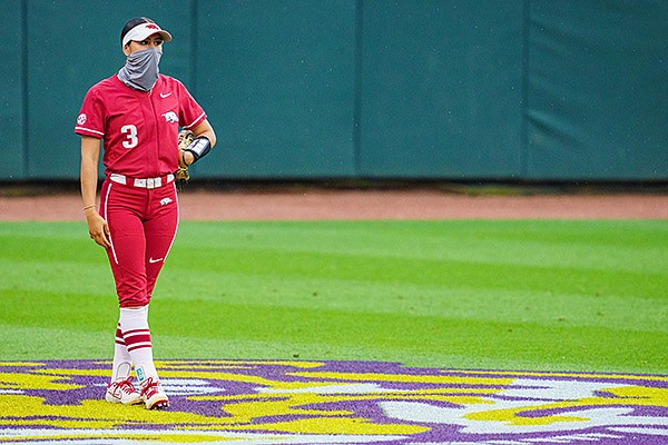 Arkansas' Larissa Cesena is shown during a game against LSU on Saturday, May 1, 2021, in Baton Rouge, La. (Photo by Andrew Wevers/LSU Athletics, via SEC pool)