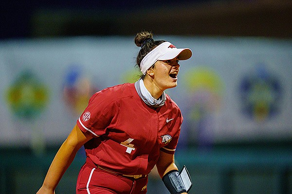 Arkansas' Mary Haff celebrates during a game against LSU on Saturday, May 1, 2021, in Baton Rouge, La. (Photo by Andrew Wevers/LSU Athletics, via SEC pool)
