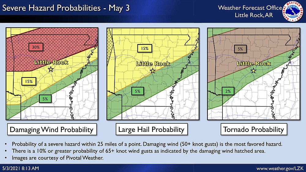 Much of north Arkansas is at a 30% chance for strong winds overnight Monday, according to this National Weather Service graphic.
