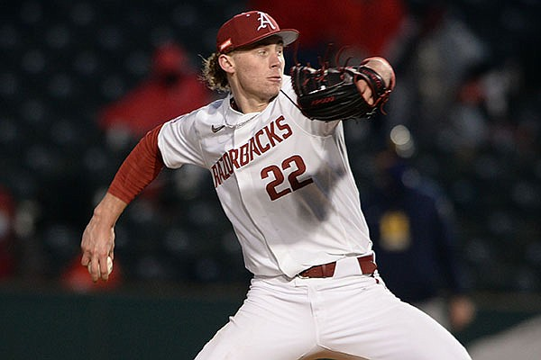 Arkansas pitcher Jaxon Wiggins throws during a game against Murray State on Friday, March 5, 2021, in Fayetteville.