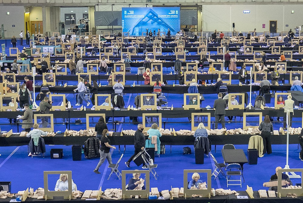 Votes are counted Friday in the parliamentary elections in Glasgow, Scotland. (AP/PA/Jane Barlow)