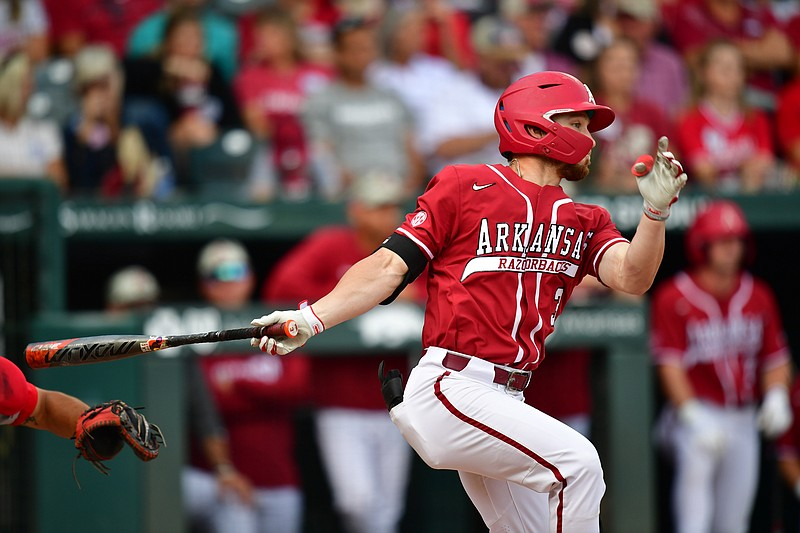 Zack Gregory swings during Arkansas' game against Georgia at Baum-Walker Stadium in Fayetteville on Saturday, May 8, 2021. Picture courtesy SEC Media Pool.