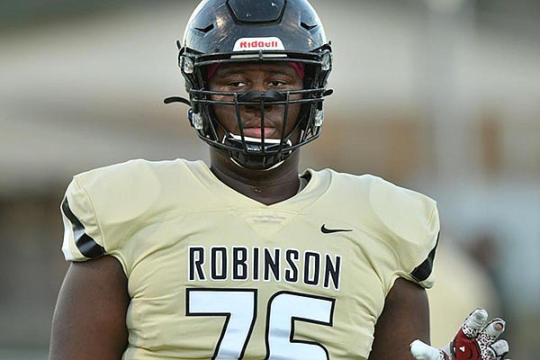 Offensive lineman E'Marion Harris of Joe T. Robinson High School is shown during a game against Ashdown on Friday, Oct. 30, 2020, in Little Rock.