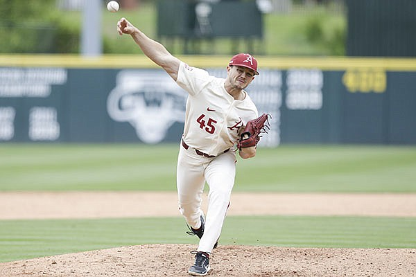 Arkansas pitcher Kevin Kopps throws during a game against Georgia on Sunday, May 9, 2021, in Fayetteville.