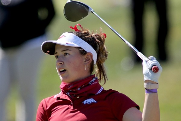 Arkansas Razorback golfer Cory Lopez watches her drive on the first tee Monday, October 5, 2020, during the inaugural Blessings Collegiate Invitational at the Blessings Golf Club in Johnson.