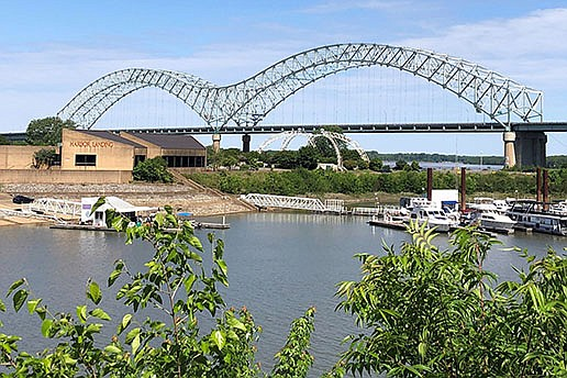The Interstate 40 bridge that connects Arkansas and Tennessee, shown Wednesday, remains closed as officials await national experts in bridge repair. Meanwhile, barge traffic on that section of the Mississippi River has also been shut down for safety reasons. (AP/Adrian Sainz)