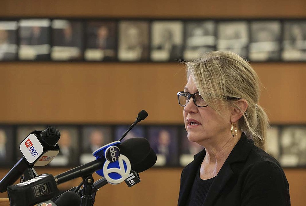 """""""This fracture had the potential of becoming a catastrophic event that was prevented by our staff's diligent effort in managing our bridge inspection program,"""" Lorie Tudor, director of the Arkansas Department of Transportation, said Wednesday at a briefing in Little Rock.  (Arkansas Democrat-Gazette/Staton Breidenthal)"""
