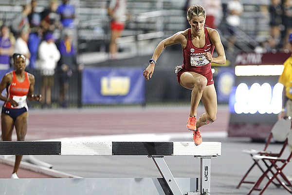 Arkansas' Krissy Gear competes in the steeplechase on Friday, May 14, 2021, during the SEC Outdoor Track and Field Championships in College Station, Texas. (Photo by Robert Black, via Arkansas Athletics)