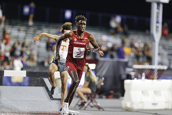 Arkansas' Andrew Kibet competes in the steeplechase on Friday, May 14, 2021, during the SEC Outdoor Track and Field Championships in College Station, Texas. (Photo by Robert Black, via Arkansas Athletics)