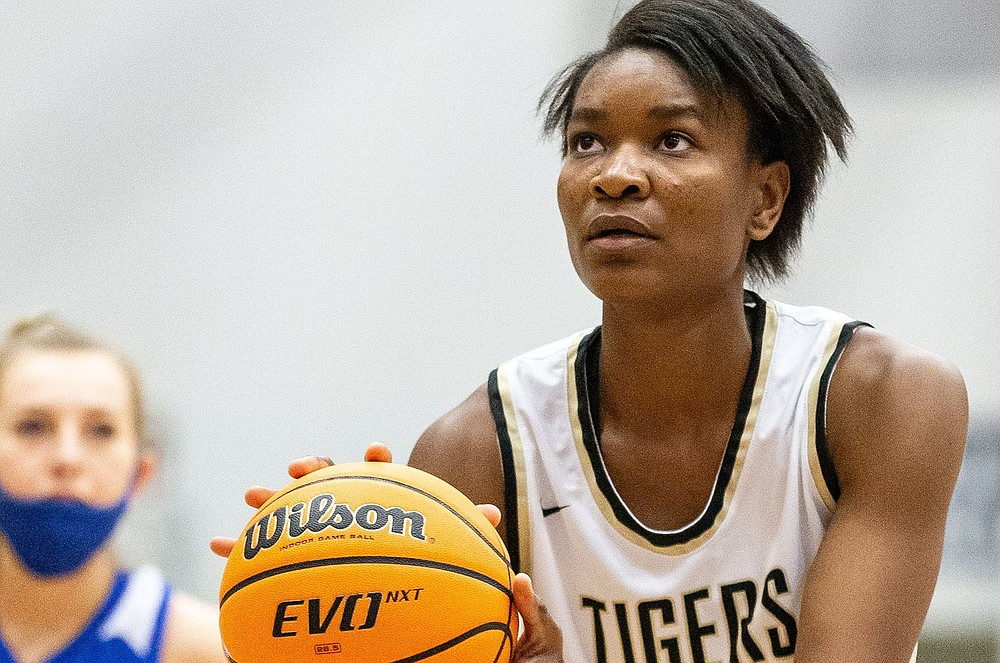 Bentonville's Maryam Dauda is now one of four McDonald's All-Americans on the University of Arkansas women's basketball roster after committing to the Razorbacks on Friday. (Special to the NWA Democrat-Gazette/David Beach)