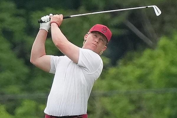 Arkansas golfer Tyson Reeder is shown during NCAA regional play Wednesday, May 19, 2021, in Kingston Springs, Tenn. (Photo courtesy Arkansas Athletics)