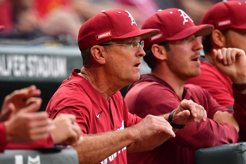 Dave Van Horn looks on from the Arkansas dugout during the Razorbacks' 6-1 win over Florida on Thursday, May 20, 2021. Picture courtesy Walt Beazley and the SEC Media Pool.