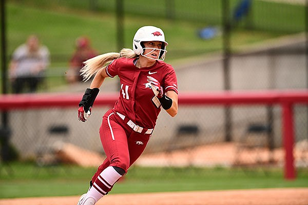 Arkansas' Danielle Gibson runs toward home plate during an NCAA regional game against South Dakota State on Saturday, May 22, 2021, in Fayetteville.