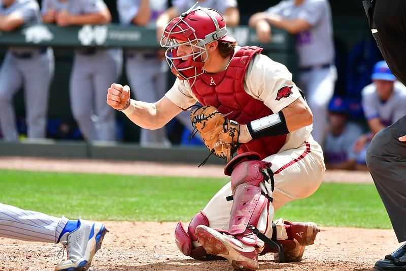 Arkansas catcher Dylan Leach celebrates during Arkansas' 9-3 win over Florida on Saturday, May 22, 2021 at Baum-Walker Stadium in Fayetteville. Picture courtesy Walt Beazley and the SEC Media Pool.