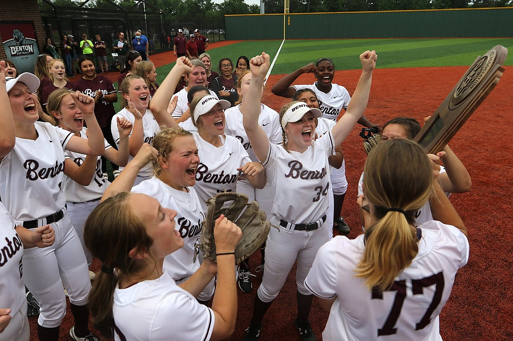 Benton players celebrate after the Lady Panthers' 8-1 victory over Greenwood in the Class 5A state championship game Thursday. More photos at www.arkansasonline.com/521softball5a/ (Arkansas Democrat-Gazette/Thomas Metthe)