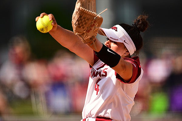 Arkansas pitcher Mary Haff throws during an NCAA regional game against Stanford on Sunday, May 23, 2021, in Fayetteville.