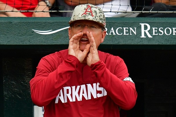 Dave Van Horn yells during Arkansas' 7-3 loss to Georgia on Saturday, May 8, 2021, at Baum-Walker Stadium in Fayetteville. Picture courtesy SEC Media Pool.