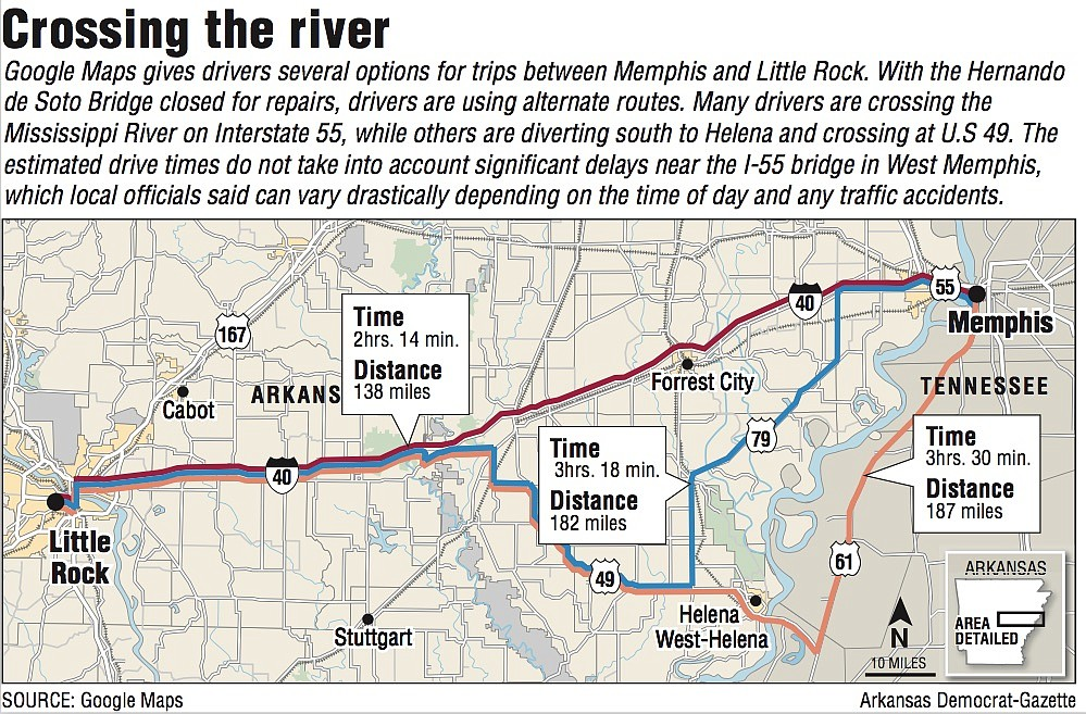 A map showing routes across the Mississippi River.