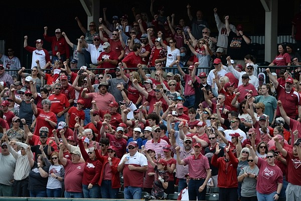 Arkansas fans cheer on Saturday, May 22, 2021, during the Razorbacks' 9-3 win over Florida at Baum-Walker Stadium in Fayetteville. Visit nwaonline.com/210523Daily/ for the photo gallery.