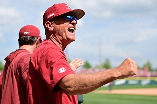 Dave Van Horn looks on from the Arkansas dugout during Arkansas' 9-3 win over Florida on Saturday, May 22, 2021 at Baum-Walker Stadium in Fayetteville. Picture courtesy Walt Beazley and the SEC Media Pool.