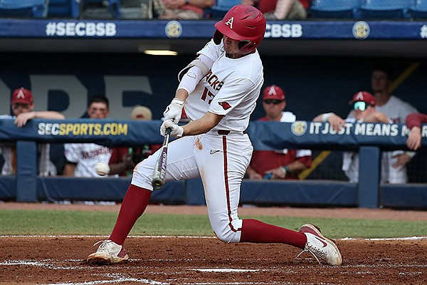 Arkansas first baseman Brady Slavens bats during an SEC Tournament game against Georgia on Wednesday, May 26, 2021, in Hoover, Ala. (SEC pool photo)