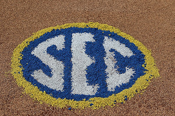 An SEC logo is shown on the field during the SEC Tournament on Thursday, May 27, 2021, in Hoover, Ala. (SEC pool photo)