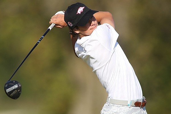 Arkansas golfer Manuel Lozada is shown during the Blessings Collegiate Invitational on Wednesday, Oct. 7, 2020, in Johnson.