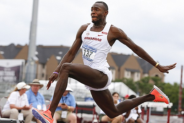Arkansas' LaQuan Nairn competes in the triple jump during the NCAA West Prelims on Friday, May 28, 2021, in College Station, Texas.