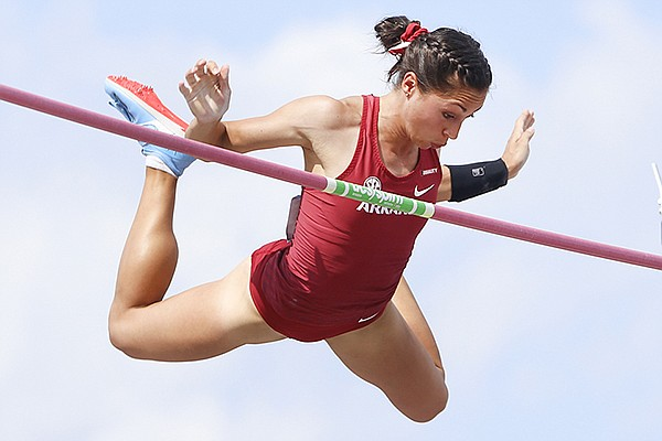 Arkansas pole vaulter Lauren Martinez competes during the NCAA West prelims on Thursday, May 27, 2021, in College Station, Texas.