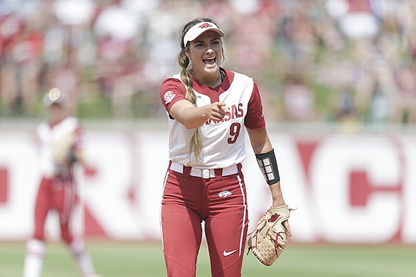 Arkansas pitcher Autumn Storms is shown during an NCAA regional game against Stanford on Sunday, May 23, 2021, in Fayetteville.