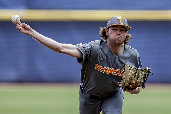 Tennessee pitcher Camden Sewell throws against Florida in the first inning of an NCAA college baseball game during the Southeastern Conference Tournament Saturday, May 29, 2021, in Hoover, Ala. (AP Photo/Butch Dill)