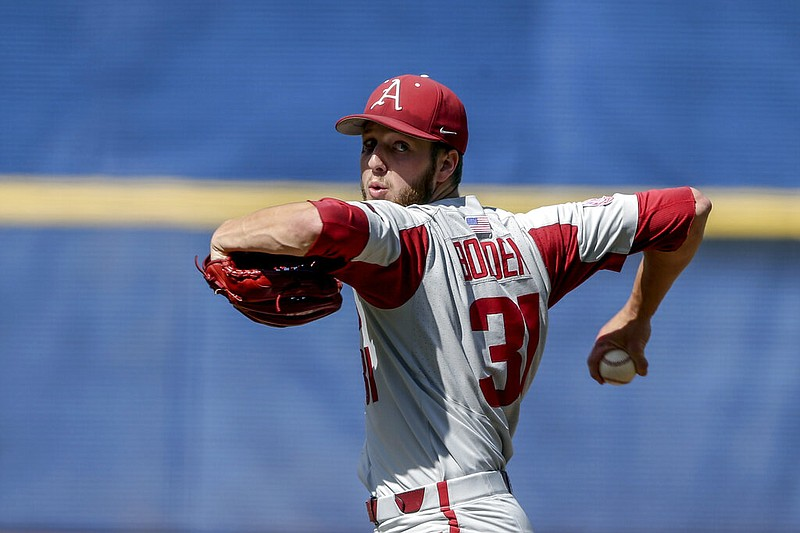 Arkansas pitcher Caleb Bolden delivers against Mississippi in the first inning of their Southeastern Conference tournament game on Saturday, May 29, 2021, in Hoover, Ala. (AP/Butch Dill)