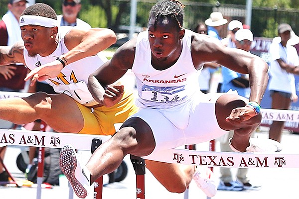 Arkansas' Phillip Lemonious competes in the 110 hurdles during the NCAA West Prelims on Saturday, May 29, 2021, in College Station, Texas.