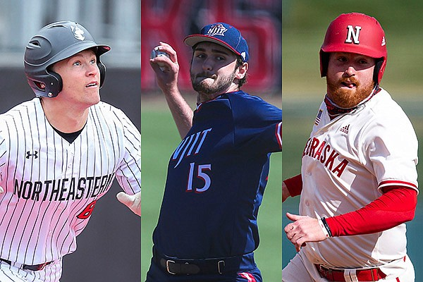From left to right, Northeastern outfielder Jared Dupere, NJIT pitcher Tyler Stafflinger and Nebraska catcher Luke Roskam are pictured. Nebraska, Northeastern and NJIT will play in the 2021 NCAA Fayetteville Regional that begins Friday at Baum-Walker Stadium. (AP Photos)