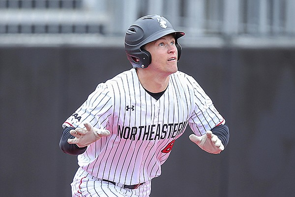 Northeastern's Jared Dupere (8) during an NCAA baseball game against Hartford on Wednesday, March 11, 2020, in Brookline, Mass. (AP Photo/Stew Milne)