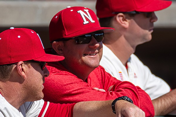 Nebraska coach Will Bolt (facing camera) was a team captain and starter on the Cornhuskers' 2001 and 2002 teams that made the College World Series under former coach Dave Van Horn. Bolt and Van Horn will reunite this week during the NCAA Fayetteville Regional, where Van Horn's top-ranked Razorbacks will host Bolt's team that is seeded second. (Photo courtesy Nebraska Athletics)
