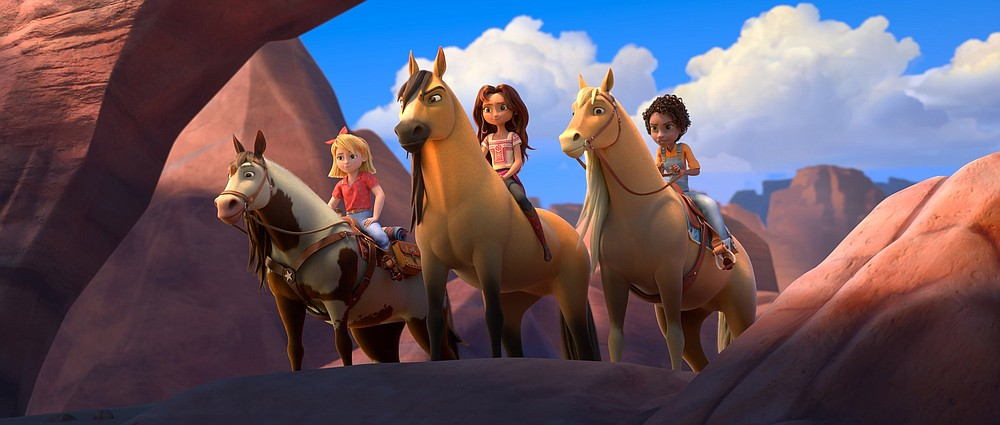 """In """"Spirit: Untamed,"""" feral Kiger mustangs Boomerang, Spirit and Little Creek allow themselves to be ridden by, respectively, Abigail (voice of Mckenna Grace), Lucky (Isabela Merced) and Pru (Marsai Martin)."""