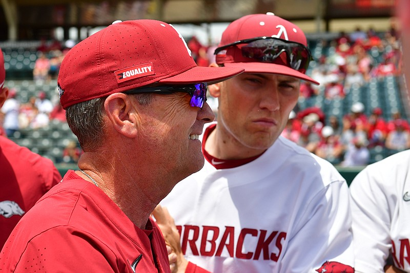 Arkansas coach Dave Van Horn talks to his team during Arkansas' 13-8 win over NJIT on Friday, June 4, 2021 at Bau-Walker Stadium in Fayetteville. Picture courtesy SEC Media Pool.