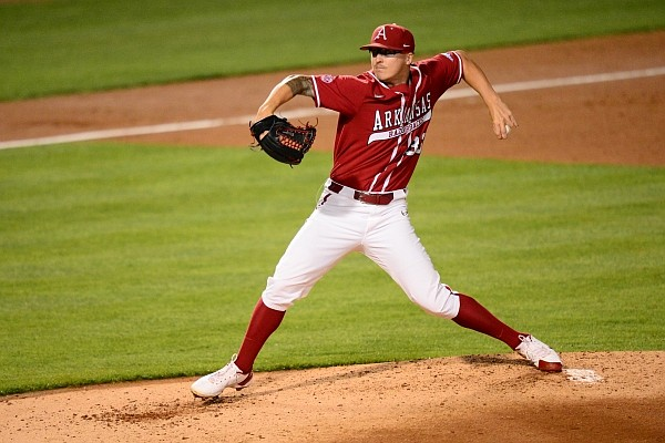Arkansas pitcher Patrick Wicklander throws a pitch during a game against Nebraska in the NCAA Fayetteville Regional at Baum-Walker Stadium on June 5, 2021.