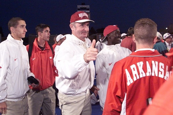 Arkansas' John McDonnell wins his eighth straight NCAA men's outdoor championship at Bronco Stadium in Boise, Idaho, in June 1999.