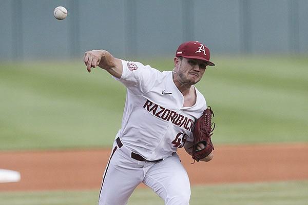Arkansas pitcher Kevin Kopps throws during an NCAA regional game against Nebraska on Monday, June 7, 2021, in Fayetteville.
