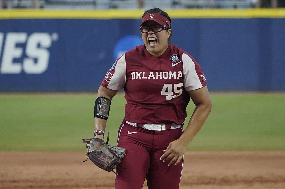 Oklahoma pitcher Giselle Juarez celebrates after the final out of the Sooners' victory over Florida State in Game 2 of the Women's College World Series championship series. The third and deciding game is today.  (AP/Sue Ogrocki)